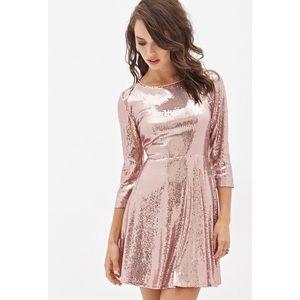 Forever 21 Blush sequin skater 3/4 sleeve dress